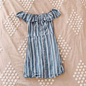 Hollister Off the Shoulder Striped Dress